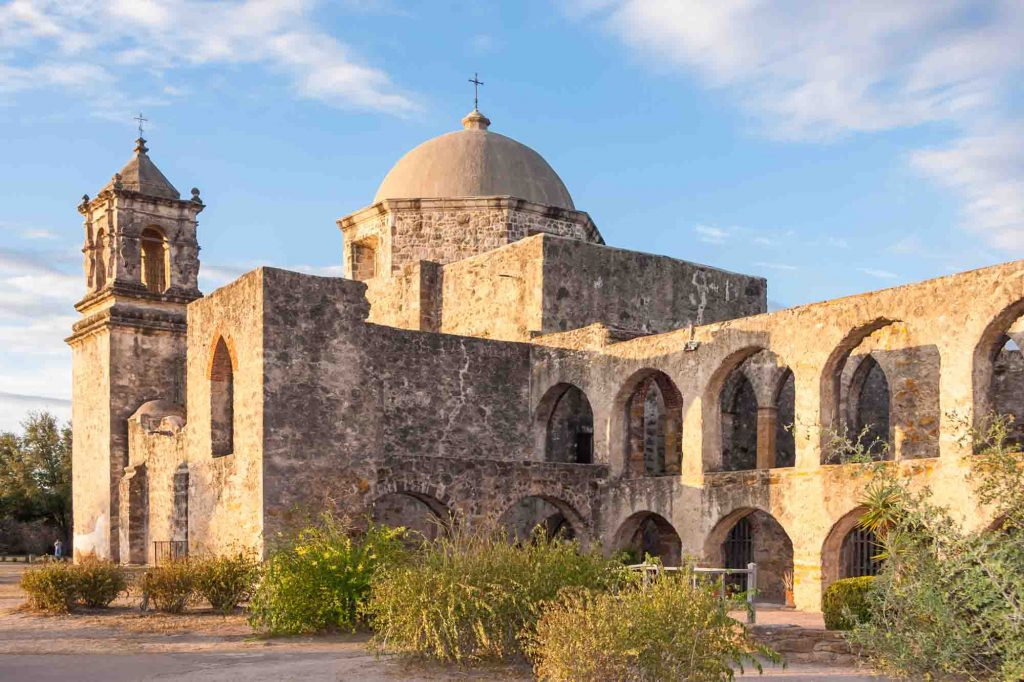 Convent and Arches of Mission San Jose in San Antonio, Texas