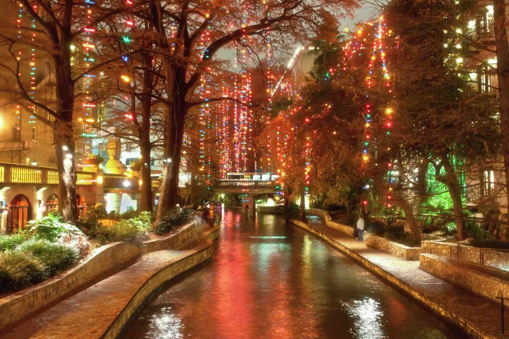 Christmas lights at riverwalk in San Antonio, Texas