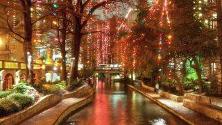 Christmas lights at riverwalk in San Antonio, Texas