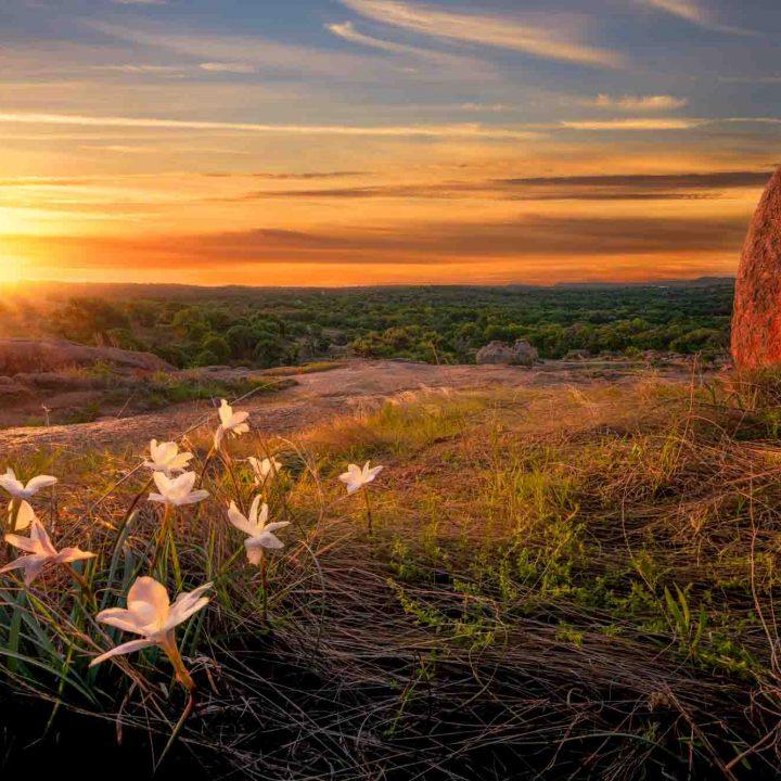 Sunrise on Enchanted Rock in Texas