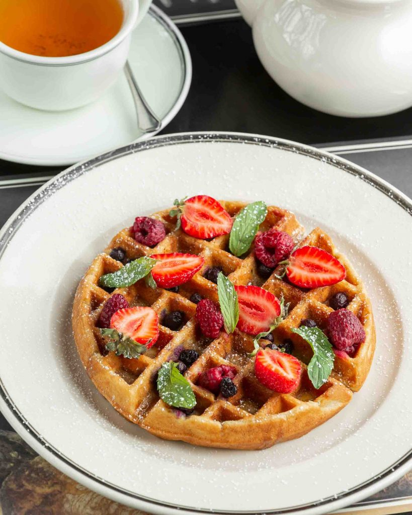Waffle topped with strawberries