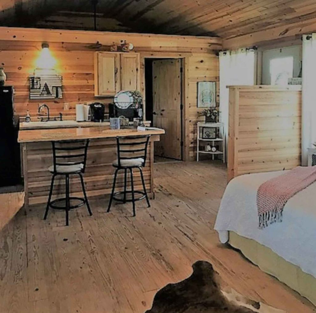 This Cabin overlooking a Spring Creek is one of the Most Romantic Cabins in Fredericksburg TX