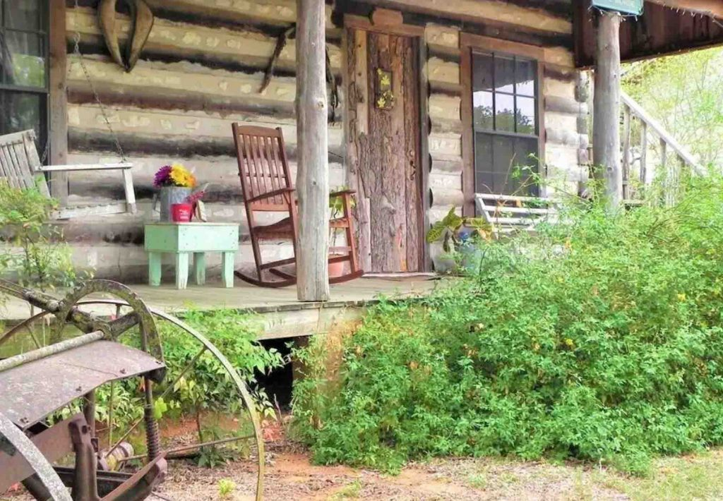This Cabin with the beautiful front porch view is one of the Most Romantic Cabins in Fredericksburg