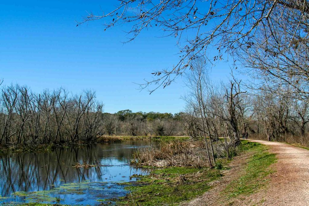 Pilant Lake to Bluestem Trail and Riverview Trail is one of the best trails for hiking in Houston