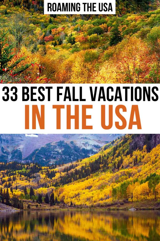 Best fall vacations in the USA Pinterest Graphic