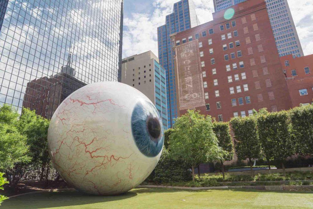 Visiting the Giant Eyeball is one of the things to add to your weekend in Dallas itinerary