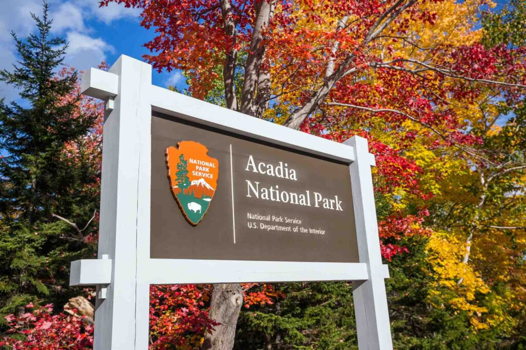 Beautiful fall colors at the entrance of Acadia National Park in Maine