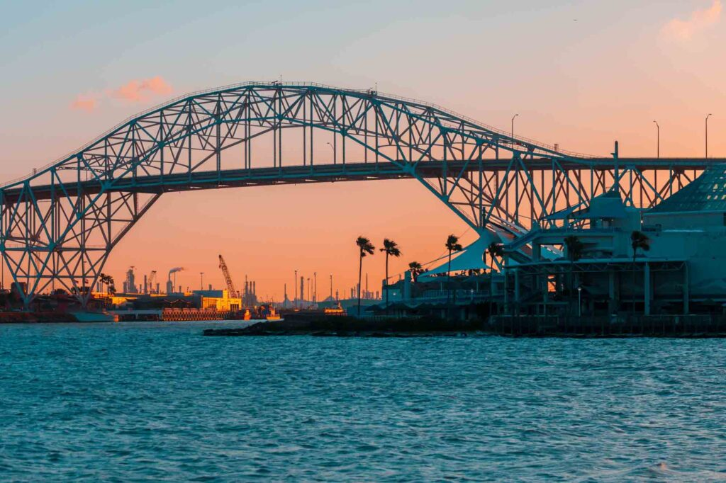 Seeing the Harbor Bridge Lit up at Night is one of the best things to do in Corpus Christi, TX