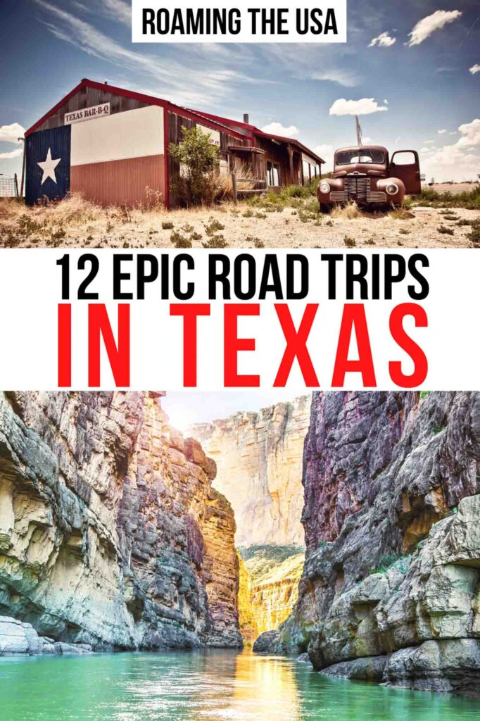 Road trips in Texas Pinterest graphic