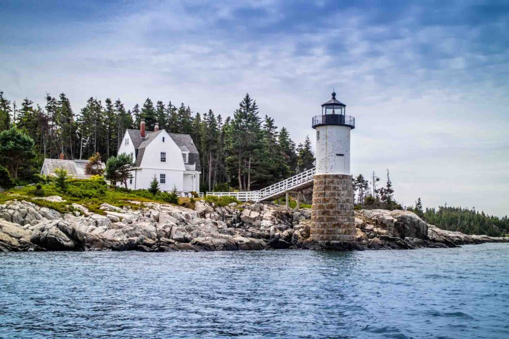 Isle au Haut Light, also known as Robinson Point Lighthouse in Maine