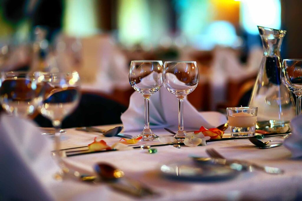 A romantic dinner table setting
