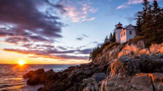 Bass Harbor Lighthouse at sunset in Acadia National Park, Maine USA