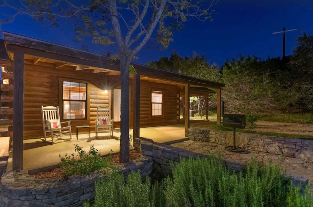 This romantic log cabin on smith creek is one of the best cabins in Wimberley, Texas