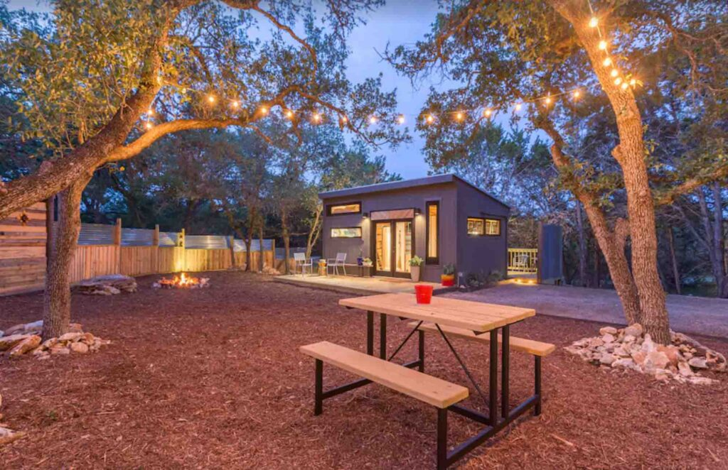 This designer's cozy tiny home is one of the best cabins in Wimberley, Texas