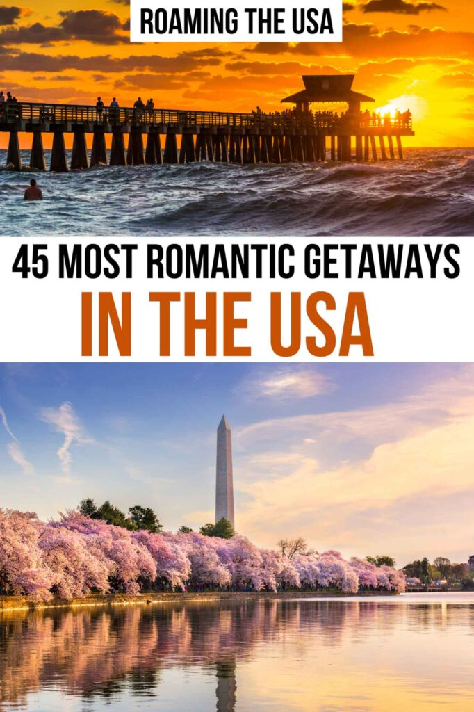 Most romantic getaways in the United States for couples, Pinterest Graphic